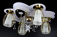 Люстра потолочная Космос с цветной LED подсветкой и авто отключением с пультом 5507/4+1 Белый 21х54х54 см., фото 1