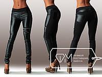 """Стильные женские лосины с кожаными вставками """"Молния"""", фото 1"""
