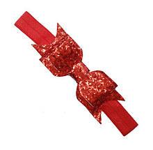 Повязка детская с блестками красная - размер универсальный (на резинке), бантик 9см