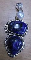 Яркий серебряный кулон  с натуральным чароитом и жемчугом   от студии LadyStyle.Biz
