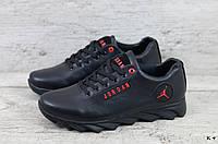 Мужские кроссовки в стиле Jordan, кожа, черные *** 40 (26 см)