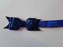 Повязка детская с блестками синяя - размер универсальный (на резинке), бантик 9см