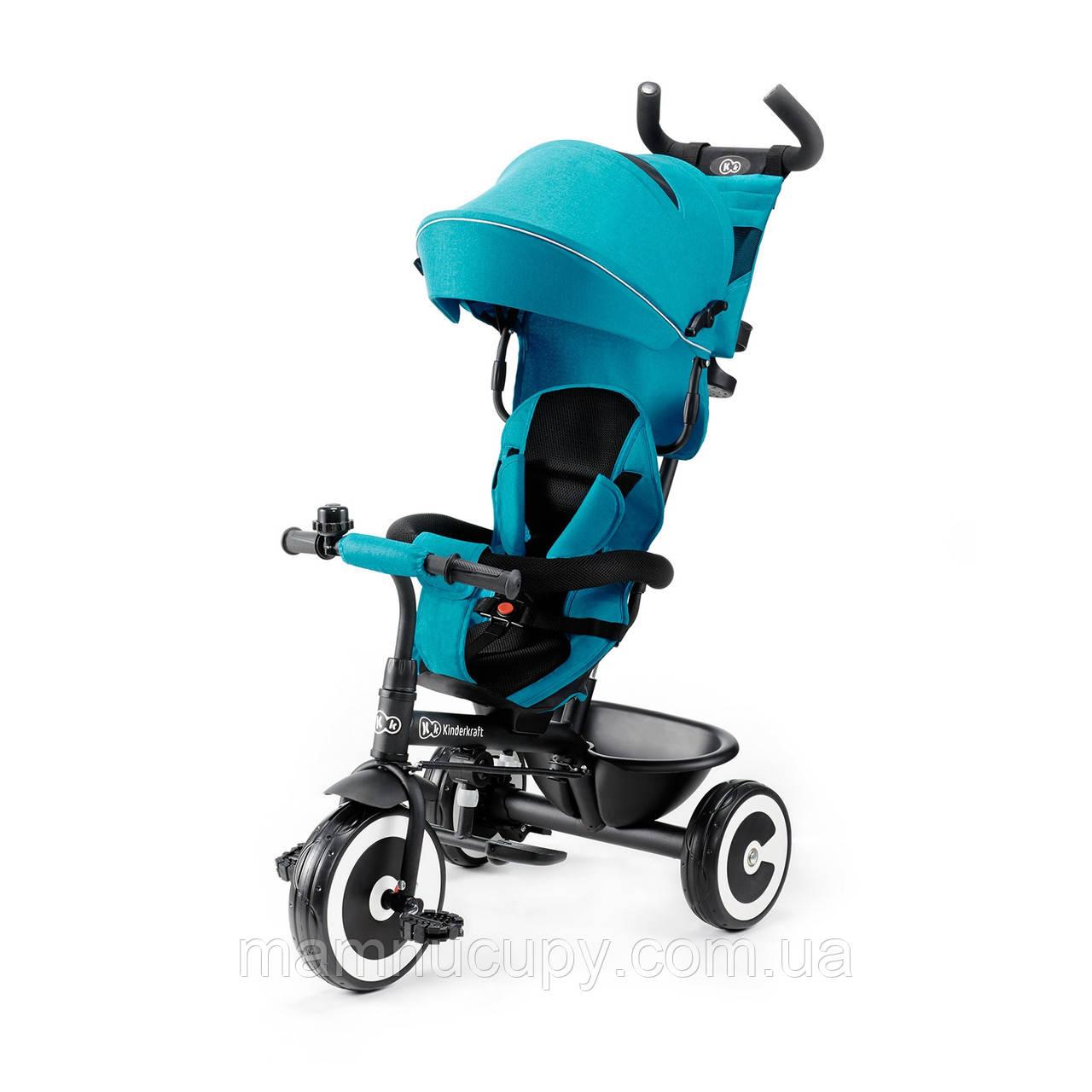 Детский трехколесный велосипед Kinderkraft Aston Turquoise Turkus (Киндеркрафт Астон)