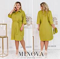 Жіноча сукня-сорочка з поясом (4 кольори) ОМ/-815 - Оливковий, фото 1
