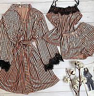 Женский велюровый халат S-M пудра в полоску, фото 1