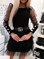 Красивая женская блуза с  прозрачными рукавами и пуговицами 42-48рр. ( 2 цвета), фото 1