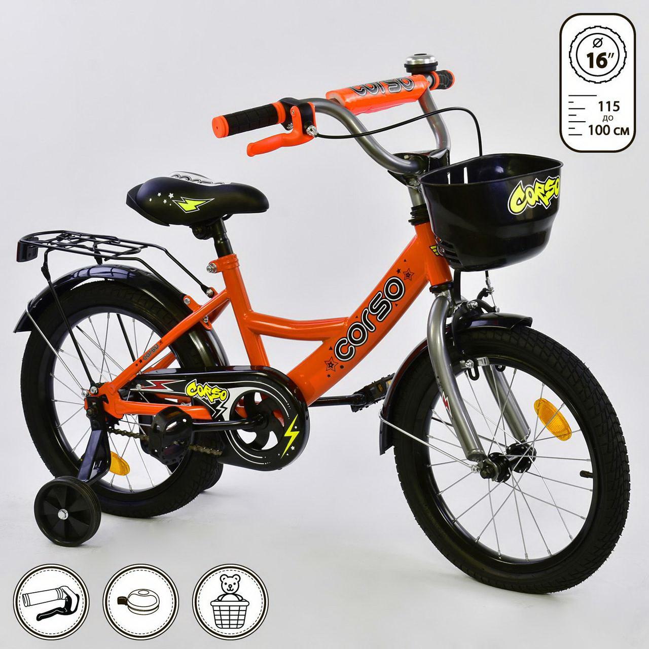 """Детский двухколесный велосипед 16"""" дюймовG-16002 """"CORSO"""" (1) ручной тормоз"""