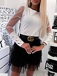Красивая женская блуза с  прозрачными рукавами и пуговицами 42-48рр. ( 2 цвета), фото 2