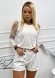 Красивая женская блуза с  прозрачными рукавами и пуговицами 42-48рр. ( 2 цвета), фото 3