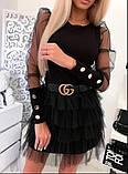 Красивая женская блуза с  прозрачными рукавами и пуговицами 42-48рр. ( 2 цвета), фото 4