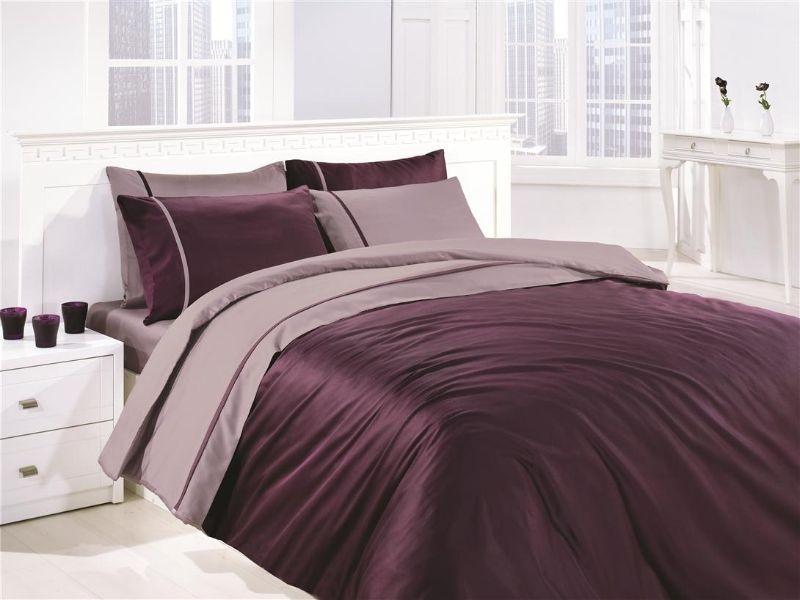 Комплект постельного белья First Choice Satin Mor&Leylak Двуспальный Евро