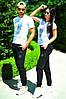 Жіночий стильний весняний спортивний костюм: штани і футболка з черепом з страз, репліка PHILIPP PLEIN, фото 3