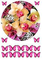 """Вафельная картинка """"Цветы"""" 32"""