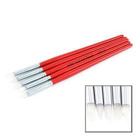 Набор кистей 5шт силиконовые, красная ручка