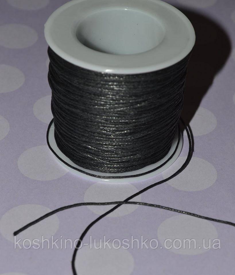 Шнур вощеный черный  0,5 мм (на метраж)