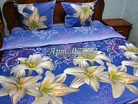 Комплект постельного БЯЗЬ Лилия - купон, синий фон 0752-3