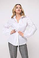 Коттоновая женская рубашка с объемными рукавами(Крисана lzn)