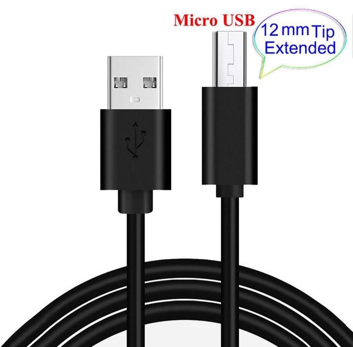 Micro USB кабель для захищених смартфонів 12 mm Швидка зарядка Чорний