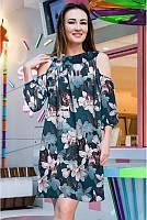 Платье свободного кроя  с цветочным принтом до 58 размера