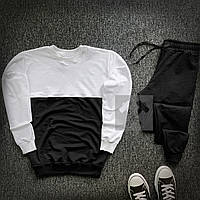 Мужской спортивный молодежный костюм на весну белый, черный (черные штаны)