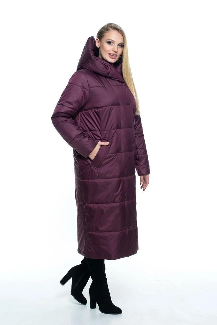 Женское длинное демисезонное пальто цвета марсал  46 по 56 размер