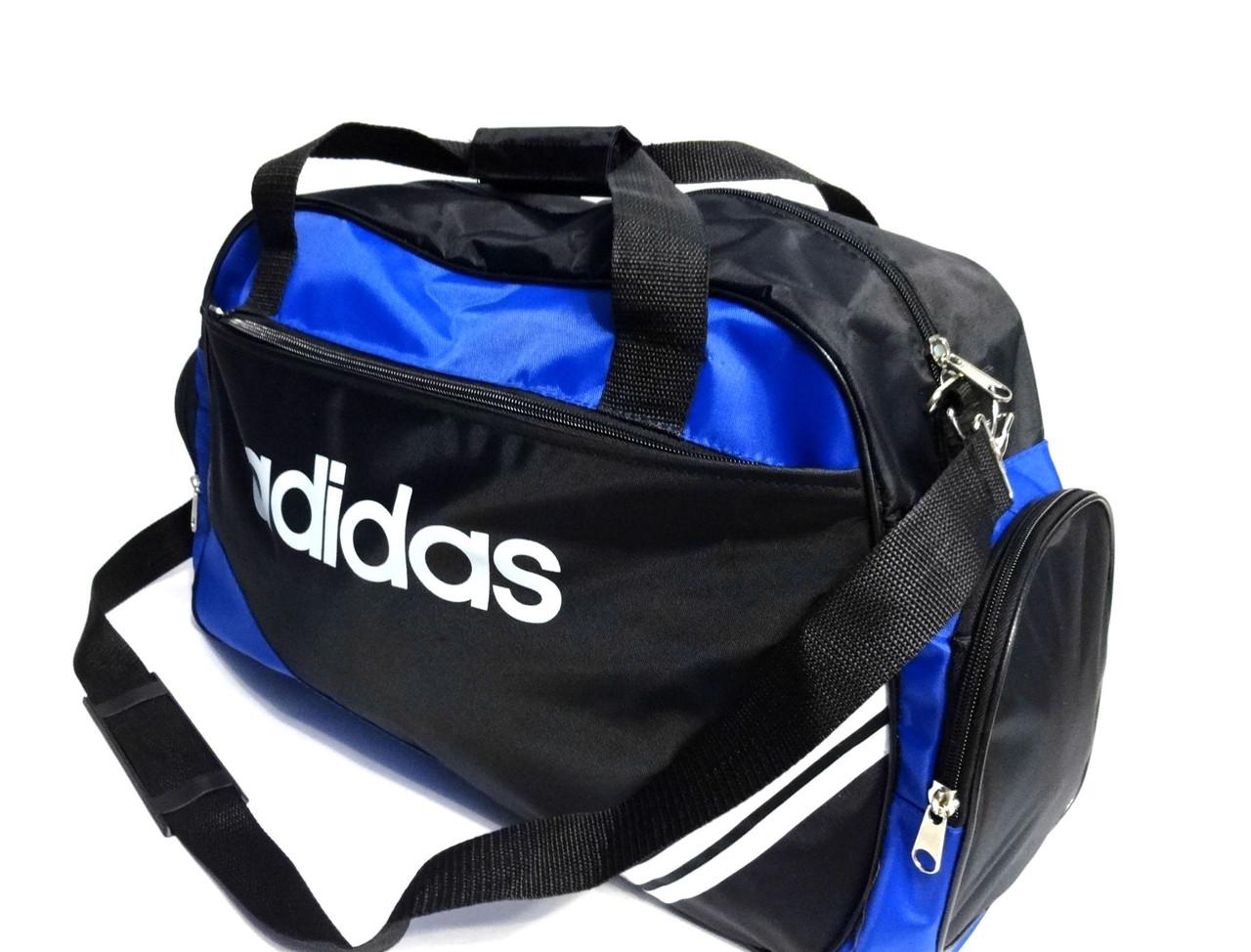 57924ae32008 Спортивная сумка Adidas ( Адидас ) . Черная с голубым . 4 отделения реплика,  фото