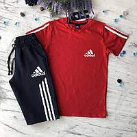 Летний красный костюм в стиле Adidas на мальчика. Размер 134 см