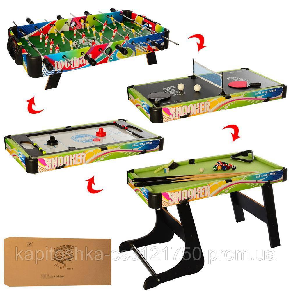 Настольная игра на штангах 4в1. (футбол,хоккей,бильярд,теннис). Материал: пластик+дерево. C6008-4