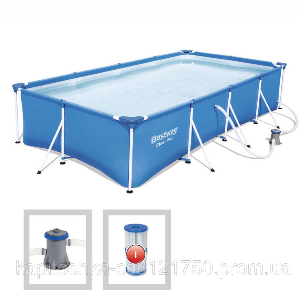 Каркасный бассейн Bestway с фильтром-насосом. Размер ДхШхВ: 400-211-81см. Объем: 5700 л. Вес: 34.2кг. 56424