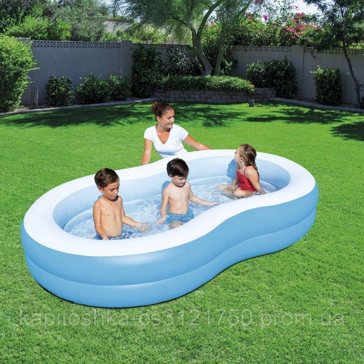 Семейный надувной бассейн Bestway 54117. Размер ДхШхВ: 262х157х46 см.