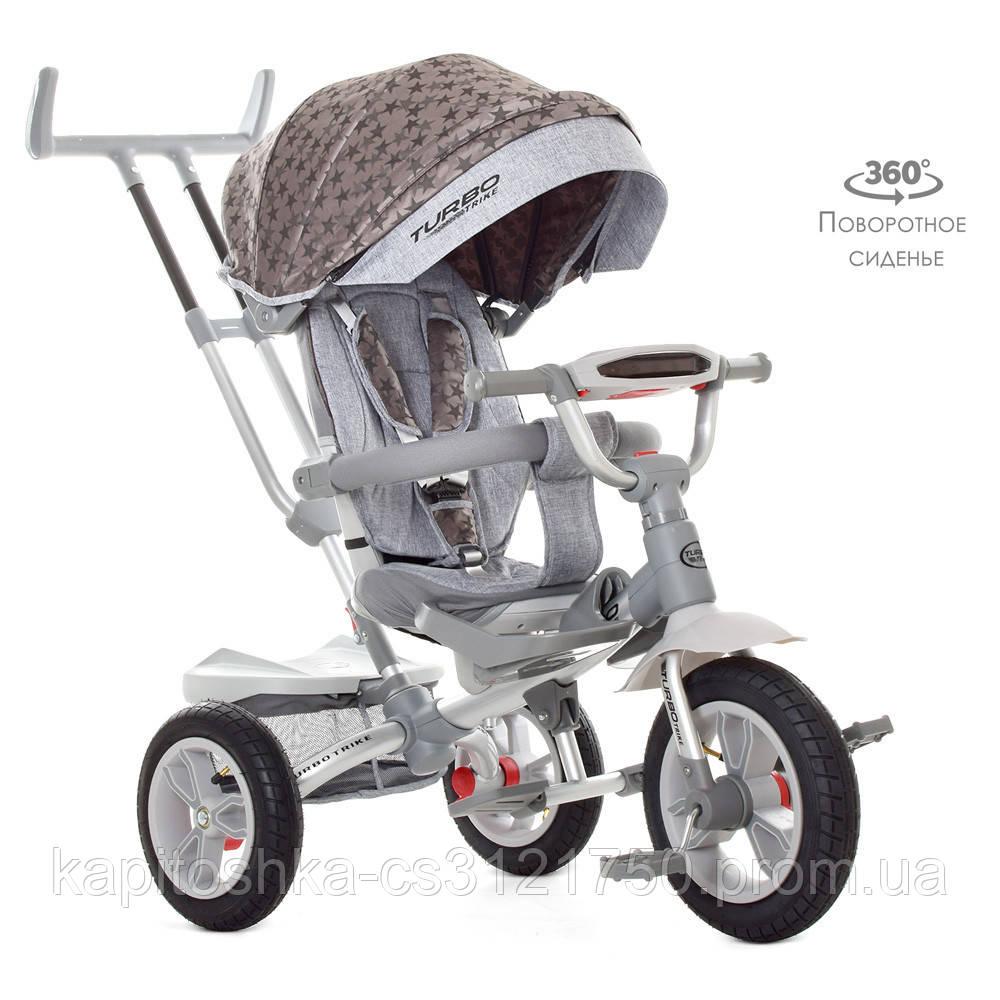 Детский трехколесный велосипед с родительской ручкой. Поворот сидения. Мелодии. Мягкое сидение. USB