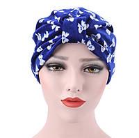 Стильная яркая шапка чалма тюрбан с принтом бантики синяя