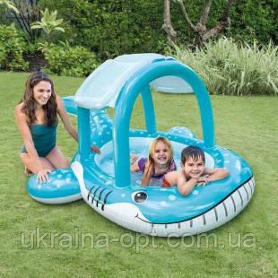 Надувной детский бассейн. Размер 211х109х185. Надувной кит
