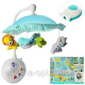 Детская карусель для кроватки. Звуковые и световые эффекты. Подвесные игрушки. Пульт управления 7180