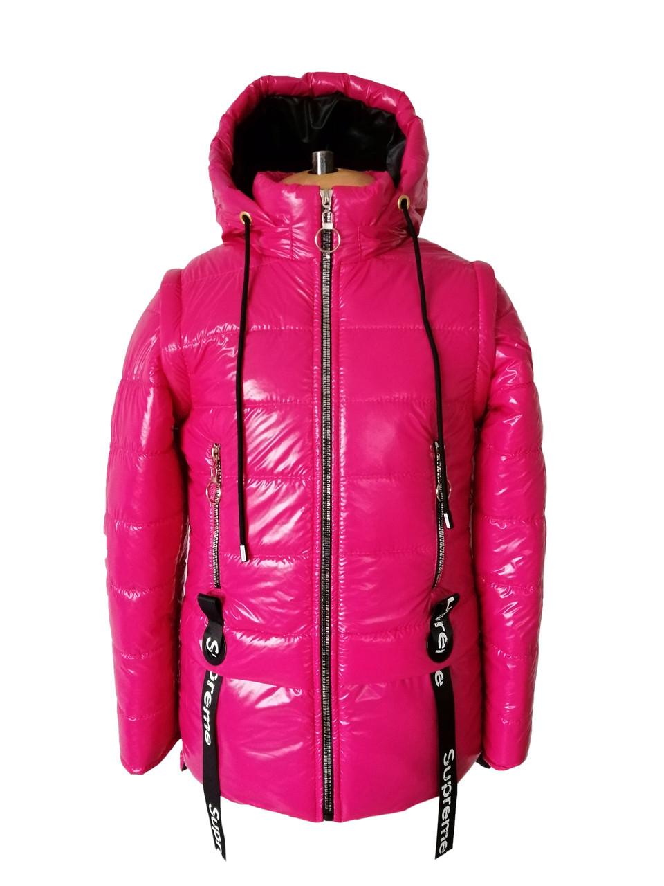 Куртки для девочек весенние  интернет магазин   34-44 малина+черный