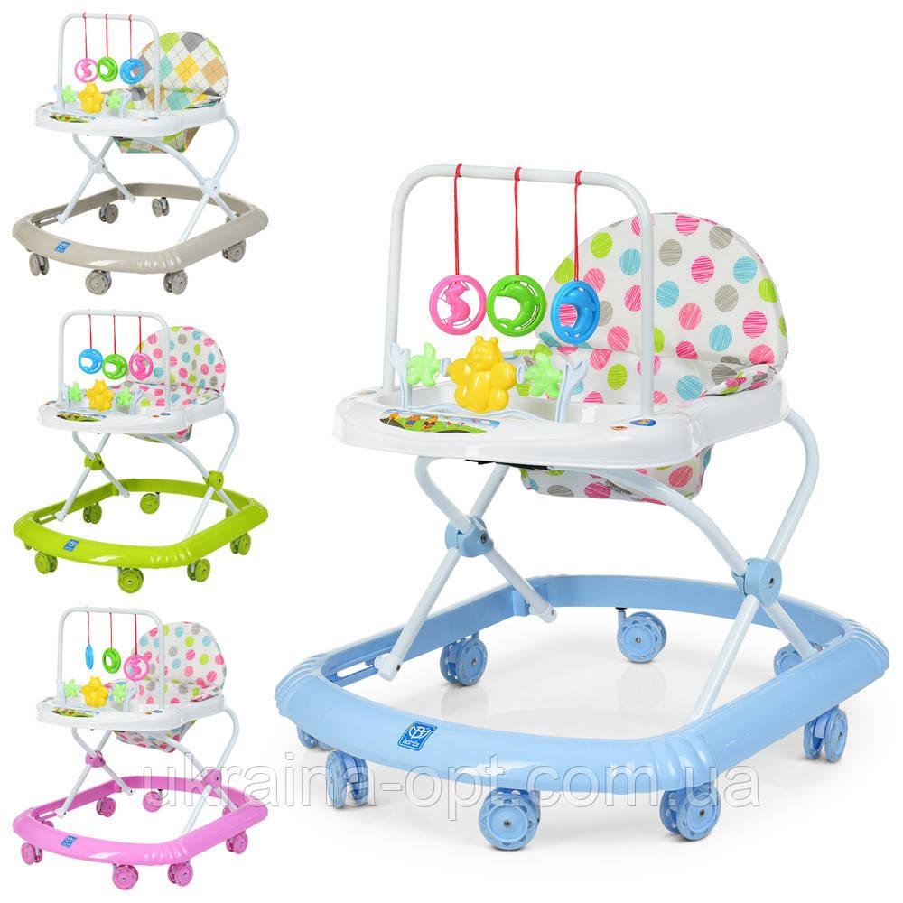 Детские ходунки с подвесными игрушками. Мелодии. Материал: пластик. 8 колес. Деткам от 8-ми месяцев. M 0591-S