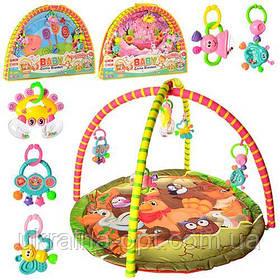 Игровой коврик для малышей с подвесными игрушками 325-66-68-69. В набор входят 5 игрушек-подвесок. Мягкие дуги