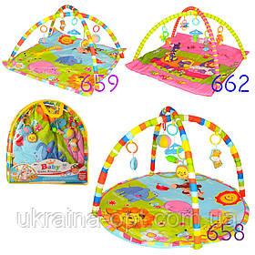 Игровой коврик для младенцев. Мягкие дуги с подвесными игрушками 5 шт. Bambi 658-659-662