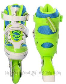 Детские роликовые коньки Profi A 4122-S-GR. Регулируется в 4-х размерах. Размер обуви: 31, 32, 33, 34