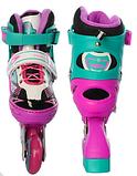 Детские роликовые коньки A 4123-S-PGR Profi. Размер обуви: 31, 32, 33, 34. Цвет: розово-зеленый, фото 2