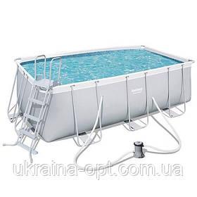 Каркасный бассейн с фильтром и лестницей Bestway. Размер ДхШхВ: 412-201-122 см. Объем: 8679 л. 56456