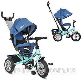 Трехколесный велосипед с родительской ручкой. Надувные колеса. Turbo Trike M 3113AJ-15. Бирюзовый