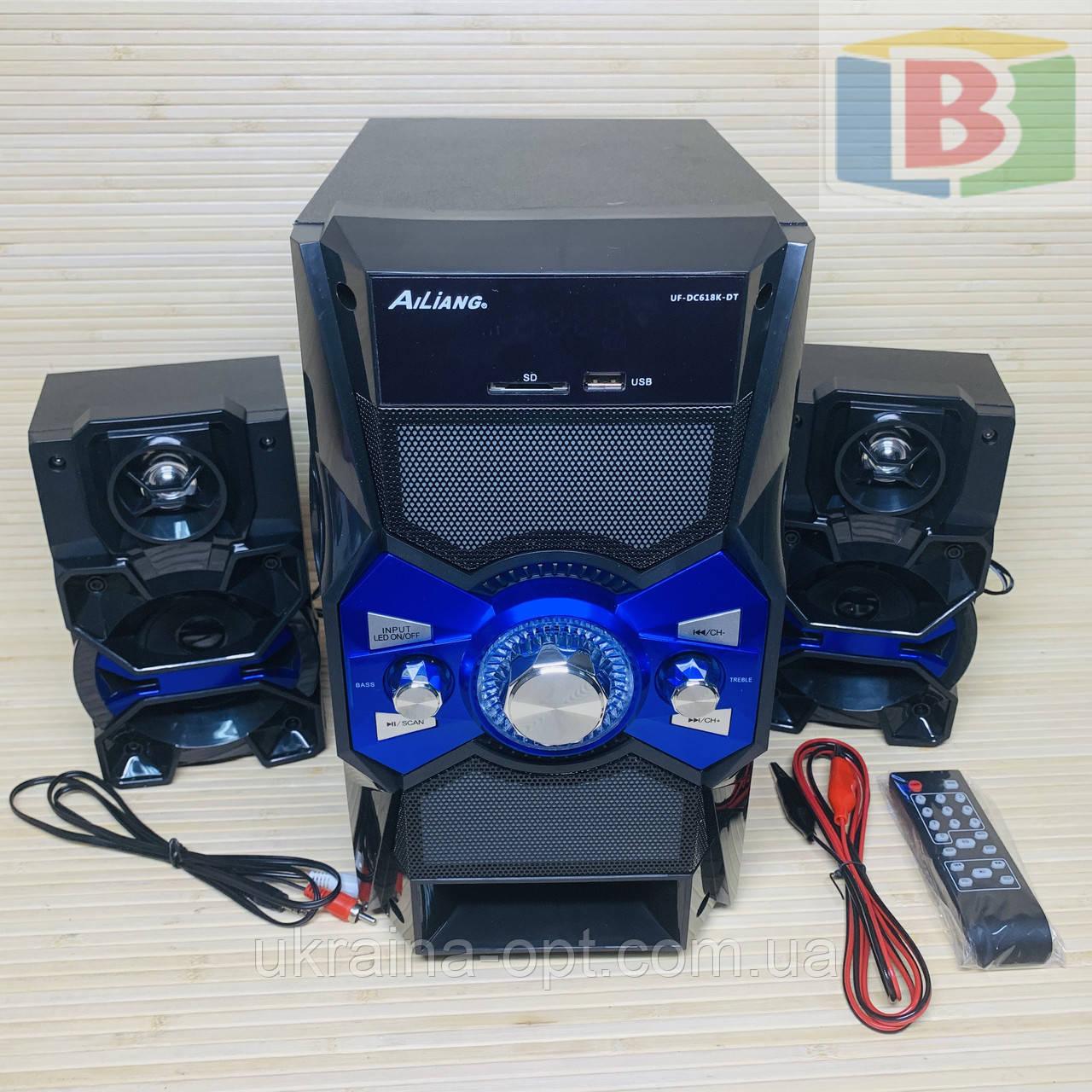 Музыкальный центр активная акустическая система + колонки Ailiang UF-618, 880W пульт, подсветка