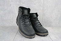 Мужские ботинки кожаные зимние черные-матовые Yuves 700