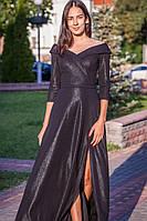 Вечернее черное длинное платье для полных и с рукавом 3/4 (S/M, M/L, L/XL, XL/XXL, XXL/XXXL)