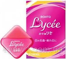 Японские Увлажняющие капли от покраснений и синдрома сухого глаза с витаминами B6, B12 и цинком Rohto Lycee Яп