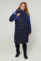 Женское пальто демисезонное легкое больших размеров 48-60 р синий, серый цвет