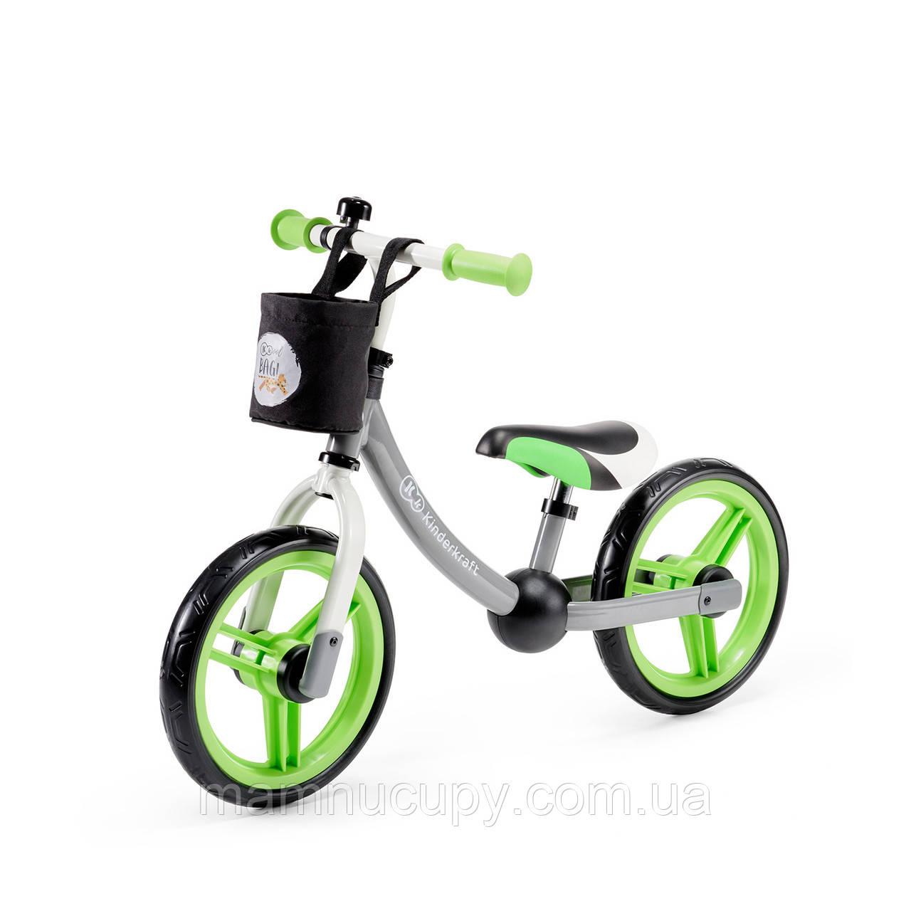 Дитячий беговел Kinderkraft 2Way Next Green/Gray (Киндеркрафт)
