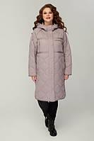 Женское пальто демисезонное на тинсулейте больших размеров 48-58 р пудра, черный цвет