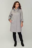 Женское пальто демисезонное на молнии больших размеров 48-66 р серый цвет